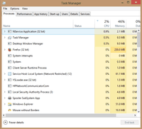 Windows 64-bit Task Manager indicates 32-bit applications