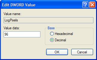 Dialog box for DWORD